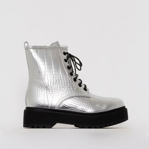 Roxy Silver Croc Print Chunky Lace Up Ankle Boots