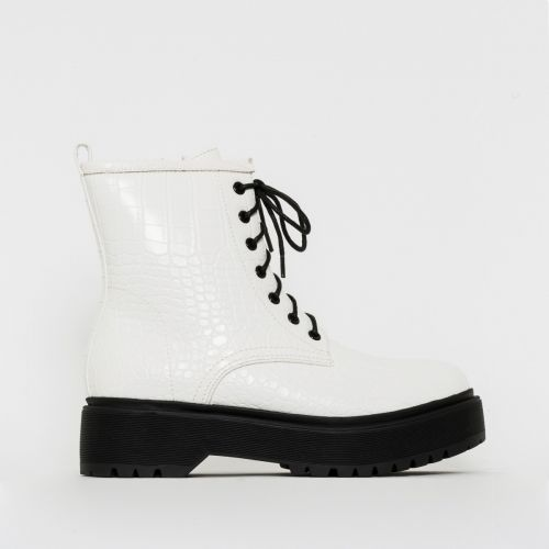 Roxy White Croc Print Chunky Lace Up Ankle Boots