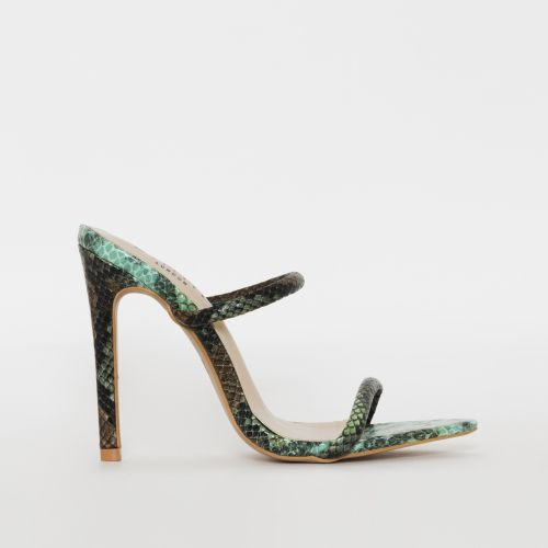 Riola Green Multi Snake Print Strappy Stiletto Mules