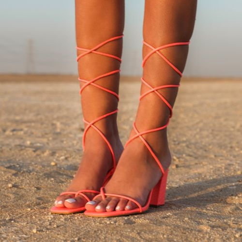 SONIA X FYZA Filter Coral Snake Print Lace Up Mid Block Heels