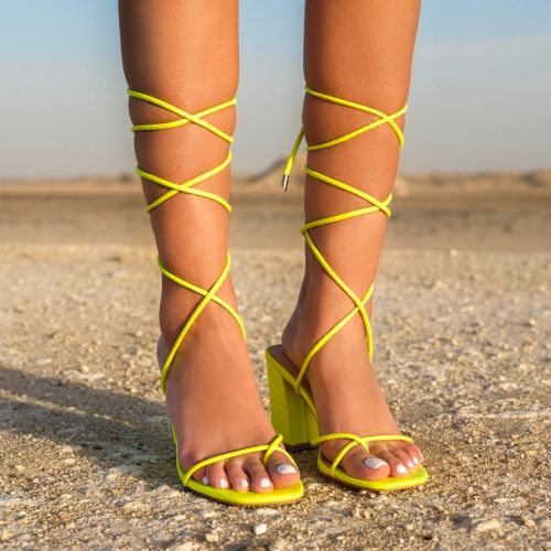 SONIA X FYZA Filter Yellow Snake Print Lace Up Mid Block Heels