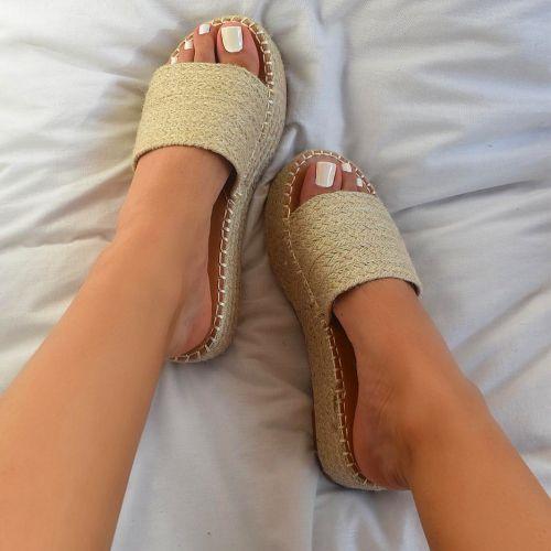 Flavia Beige Espadrille Flatform Sandals