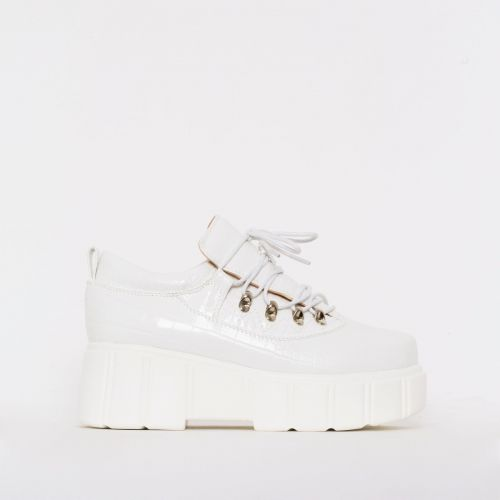 Nico White Croc Print Lace Up Flatforms