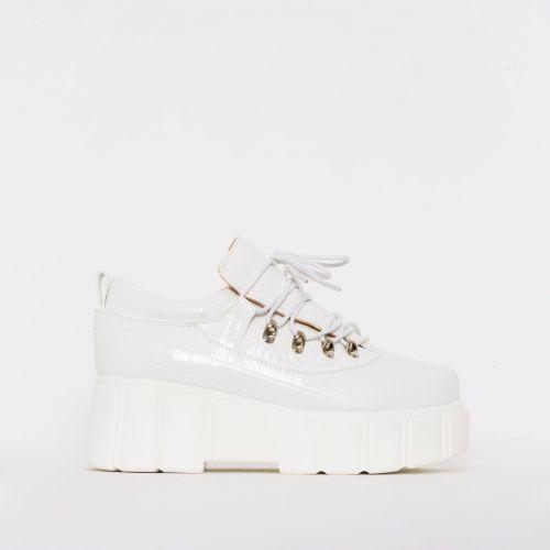Nico White Croc Print Lace Up Flatforms