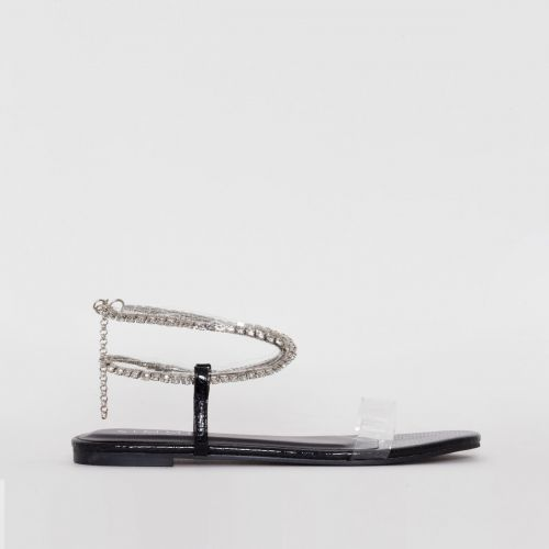 Diaz Black Snake Print Diamante Flat Sandals