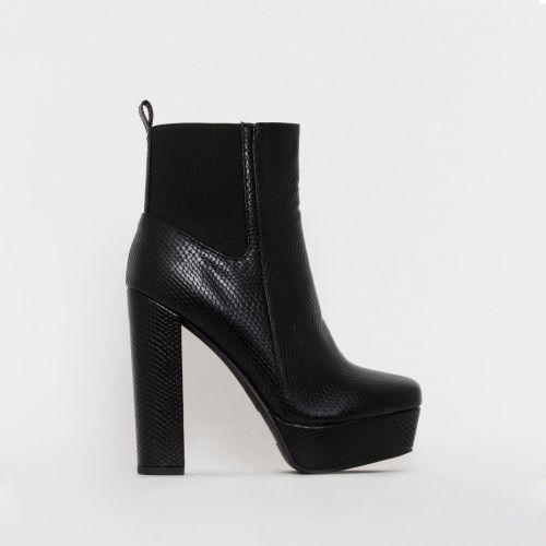 Valentina Black Snake Print Chelsea Platform Ankle Boots