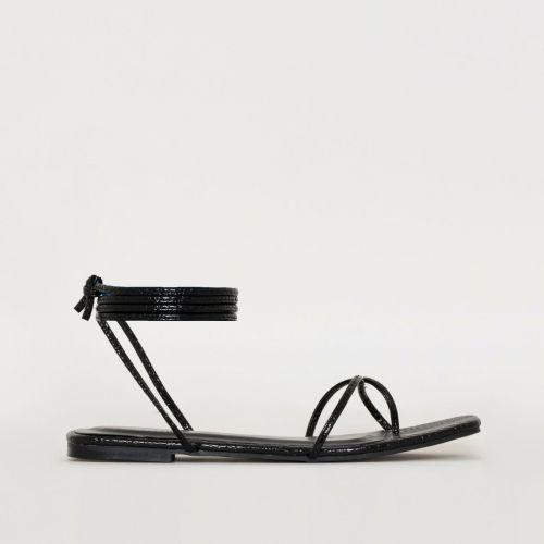 Daryl Black Patent Python Print Sandals