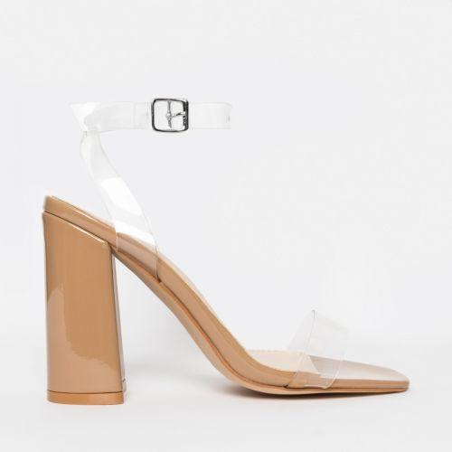 Gabriella Nude Patent Clear Block Heels