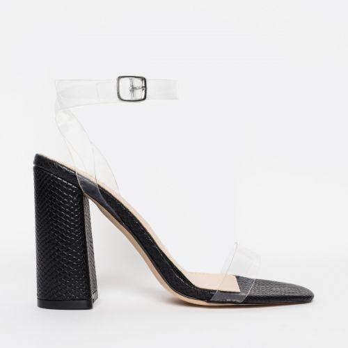 Gabriella Black Snake Clear Block Heels