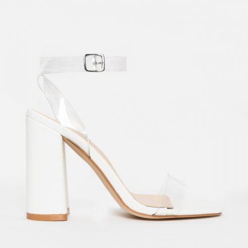 Gabriella White Snake Clear Block Heels