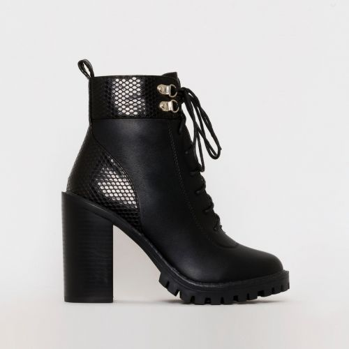 Gia Black Snake Print Block Heel Lace Up Ankle Boots