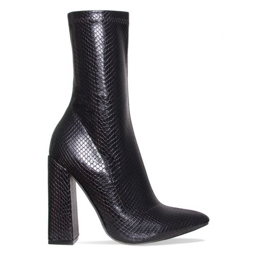 Gwen Black Snake Block Heel Ankle Boots