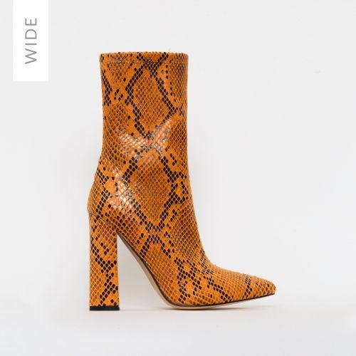 Gwen Wide Fit Orange Snake Print Block Heel Ankle Boots