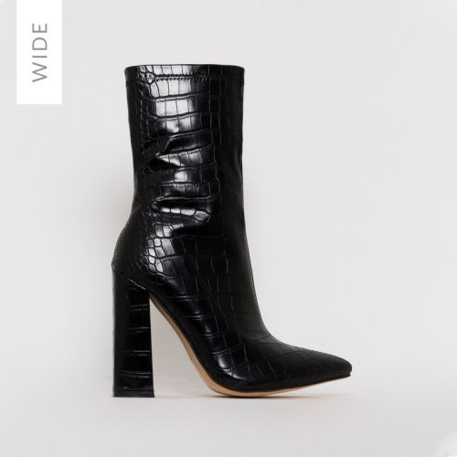 Gwen Wide Fit Black Stretch Croc Print Block Heel Ankle Boots