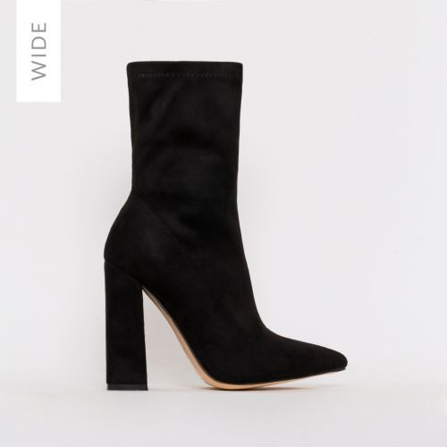 Gwen Wide Fit Black Suede Block Heel Ankle Boots