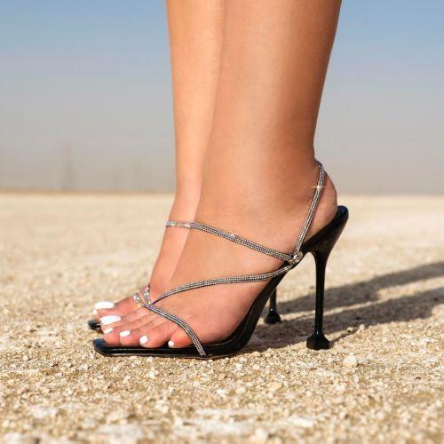 SONIA X FYZA Glitta Black Diamante Strappy Heels