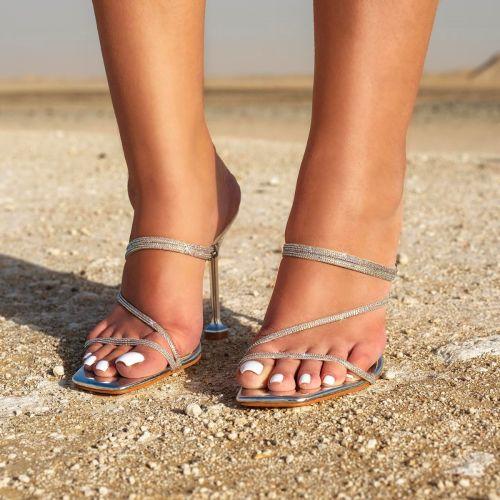 SONIA X FYZA Glitta Silver Diamante Strappy Heels