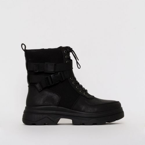 Vaneza Black Mesh Lace Up Chunky Ankle Boots