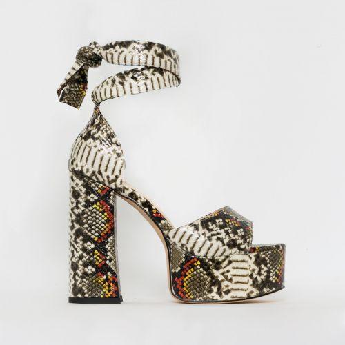 Athena Multi Snake Print Lace Up Chunky Platform Heels