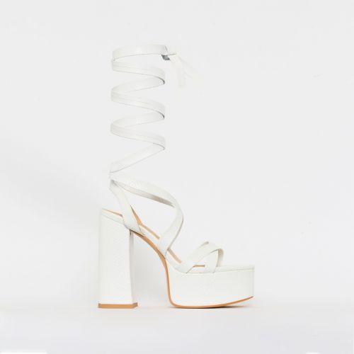 Amber White Snake Print Lace Up Platform Heels
