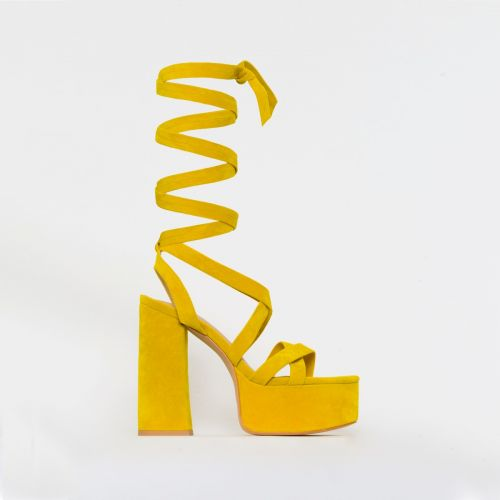 Amber Yellow Suede Lace Up Platform Heels