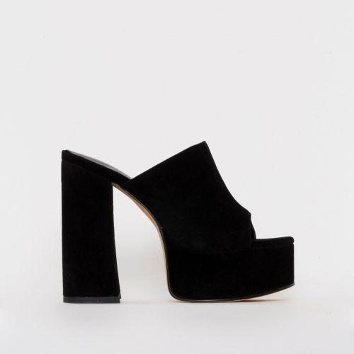 Giselle Black Suede Platform Mules