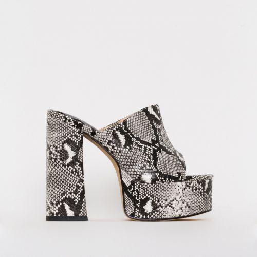 Giselle Monochrome Snake Print Platform Mules