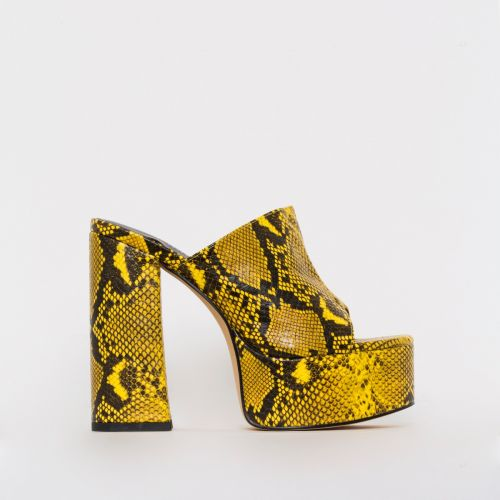 Giselle Yellow Snake Print Platform Mules