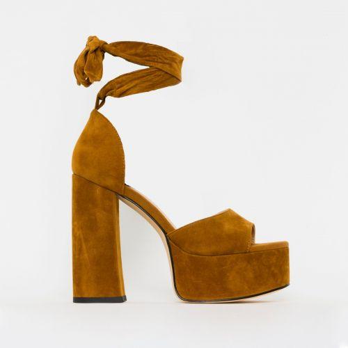Athena Tan Suede Lace Up Chunky Platform Heels