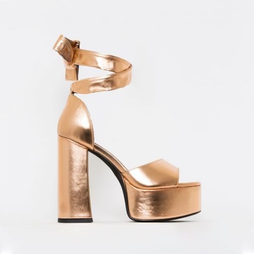 Athena Rose Gold Lace Up Chunky Platform Heels