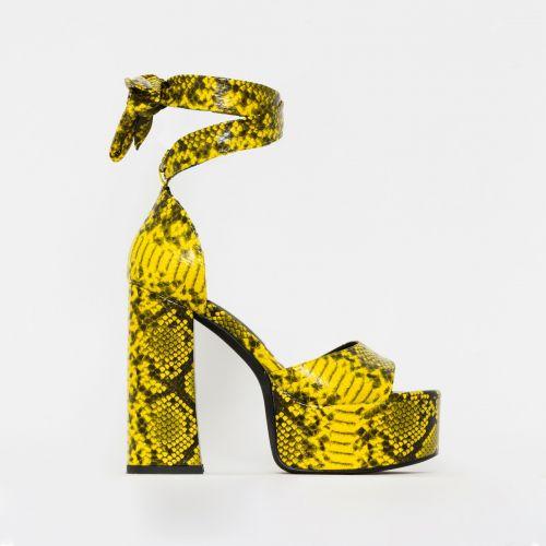 Athena Yellow Snake Print Lace Up Chunky Platform Heels