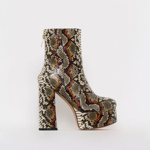 Lacey Multi Snake Print Chunky Platform Ankle Boots