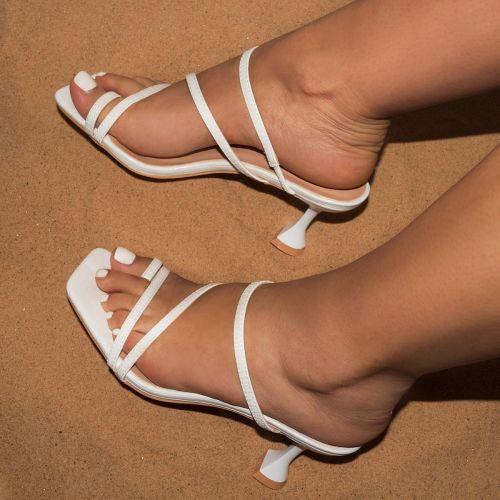 SONIA X FYZA Habibi White Lizard Print Flared Midi Heel Mules