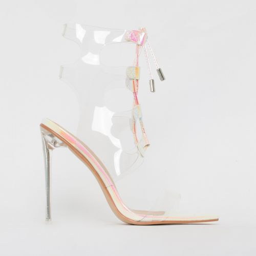 Desi White Iridescent Snake Print Clear Lace Up Heels