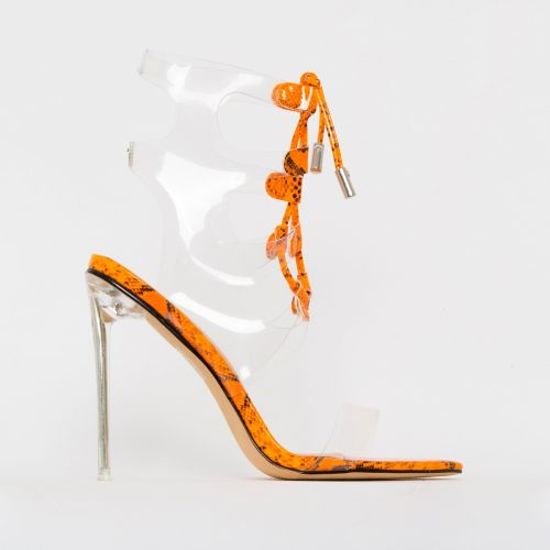 Desi Orange Patent Snake Print Clear Lace Up Heels