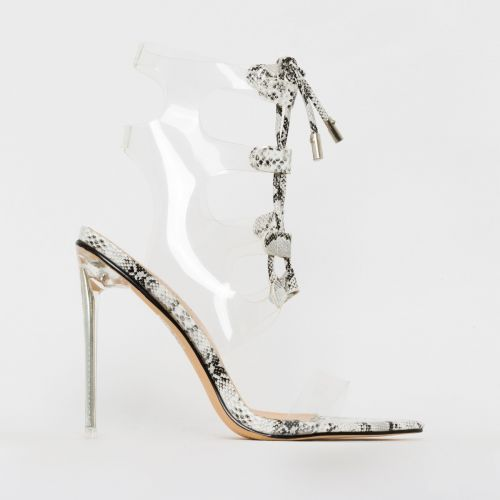 Desi Mono Patent Snake Print Clear Lace Up Heels