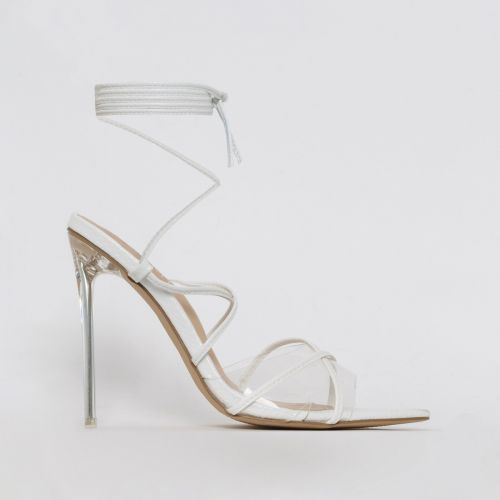 Hailey White Snake Lace Up Clear Heels