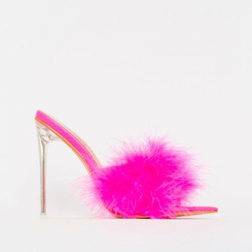 Faye Pink Fluffy Clear Mule Heels