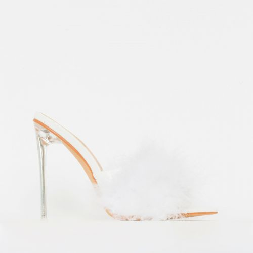 Faye White Fluffy Clear Mule Heels
