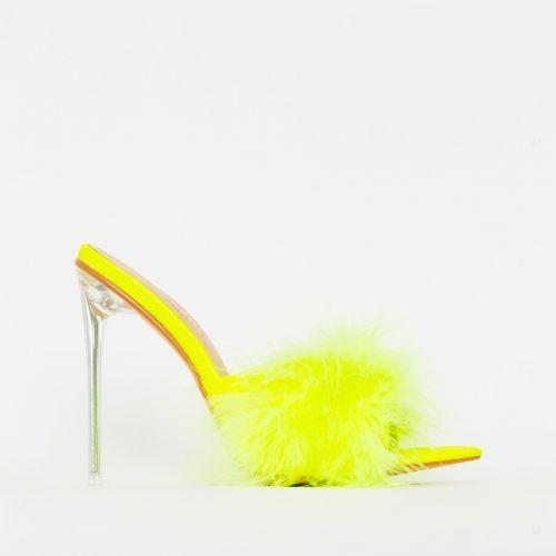 Faye Yellow Fluffy Clear Mule Heels