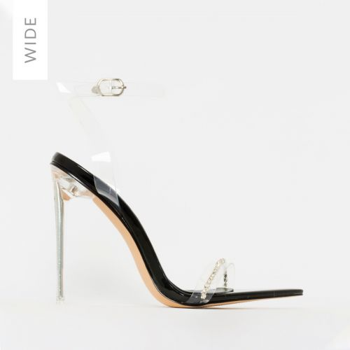 Molly Wide Fit Black Patent Clear Diamante Stiletto Heels