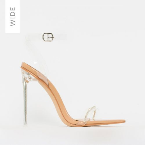 Molly Wide Fit Nude Patent Clear Diamante Stiletto Heels