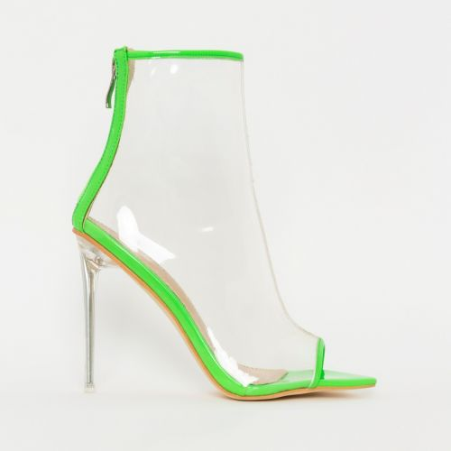 Grace Green Patent Clear Peep Toe Ankle Boots