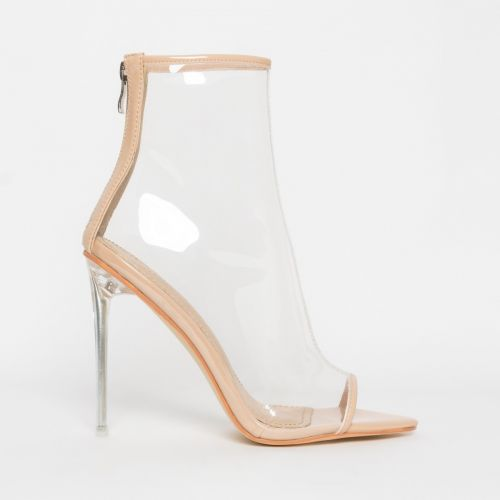 Grace Nude Patent Clear Peep Toe Ankle Boots