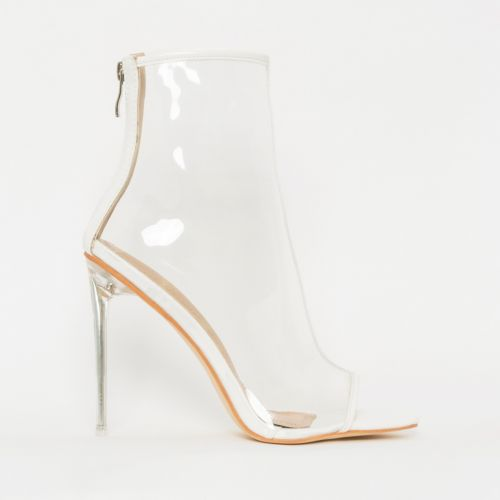 Grace White Patent Clear Peep Toe Ankle Boots