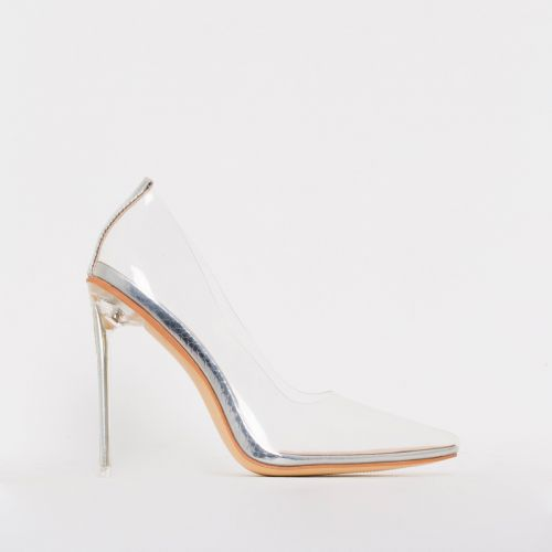 Christie Silver Snake Clear Stiletto Court Shoes