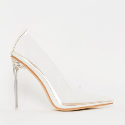 Christie White Snake Clear Stiletto Court Shoes