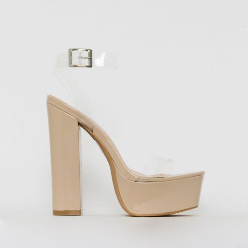 Halo Clear Nude Patent Platform Heels