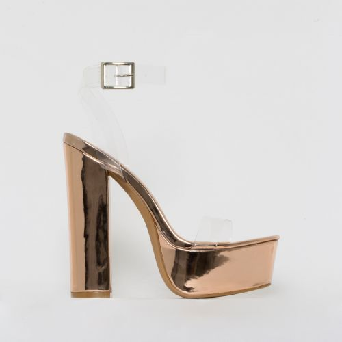 Halo Clear Rose Gold Platform Heels
