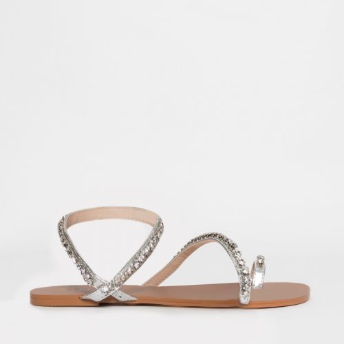 Harleen Silver Diamante Strappy Sandals